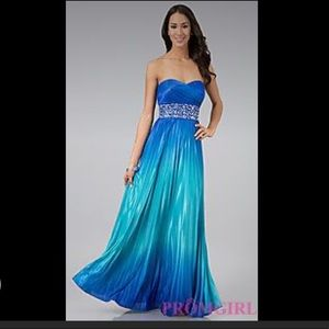 Speechless blue ombré strapless pleated gown small